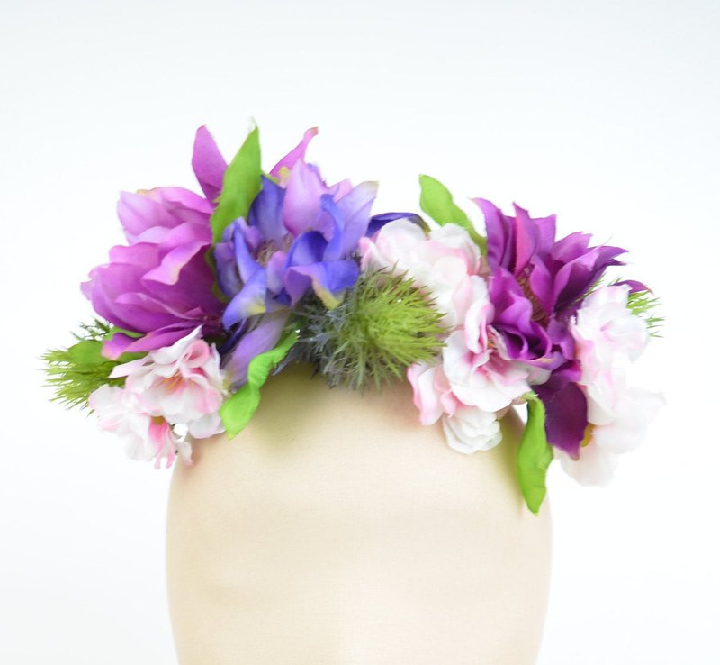 Flower Crown Boho Garland Festival Headpiece in Brigh Colours with Silk Flowers