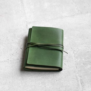 Green refillable leather journal notebook/ Book Cover A6