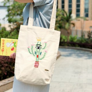 Belongs To J. Embroidery Totebag - King of Cactus