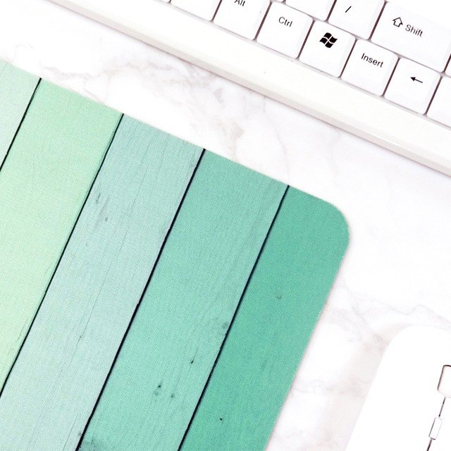 Green Ombre Wood Mousepad Office Decorations