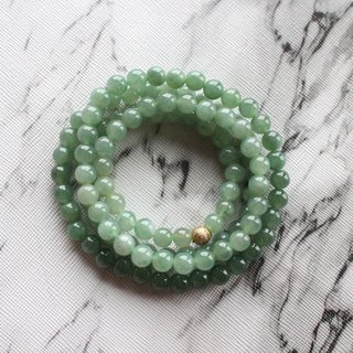 Journal-Green Lake Pure Natural Ice Green Gradient Jade (Burma Jade) Boutique Long Pearl Chain Exclusive Item