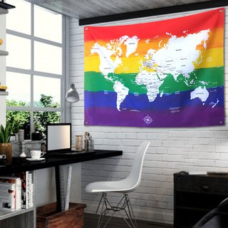 Rainbow world map tarpaulin background cloth