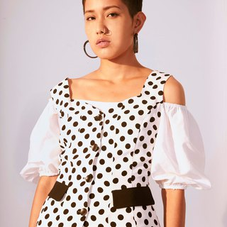 Vest top black & white dot /T004