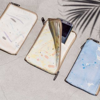 Valentine's Day Marble Mobile Phone Cases Storage Bag Mobile Phone Bag Leisure Card Holder - Marine Watercolor Floating Water