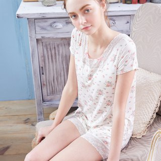 No steel ring pajamas [exclusive 2in1] floret bloom floral bow two-piece home service