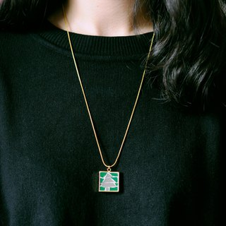 Tree handmade mosaic gold plated necklace 925 sterling silver plated with T-shirt sweater