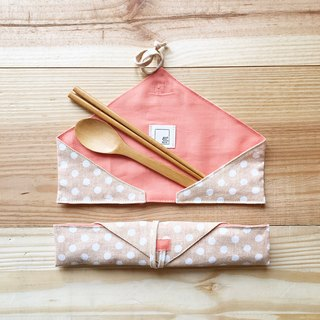 DailyPOUCH | include chopsticks & spoon | beige & white dot + pink linen
