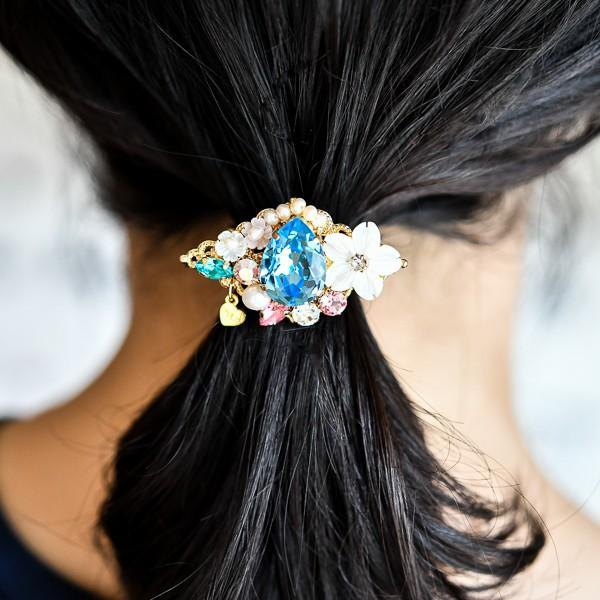Freshwater Pearl Shell Flower Bijou's Pony Hook Hair Rubber Ornament Aquamarine Blue Version