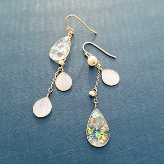 opal-colour drops and freshwater pearl pierced earrings or clip-on earrings