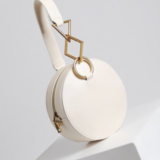 MBS [Series of White] classic geometry small round bag hand bag chain Messenger bag leather handbag