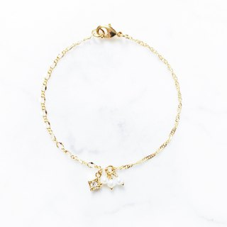 :: Girl Collection :: Square Diamond Asymmetrical Fine Bracelet