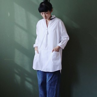 OMAKE collar embroidered wide length pocket shirt white