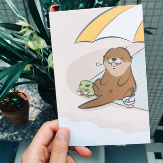 Bibi&Tata cute otter x travel frog postcard