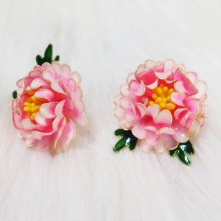 Miss Paranoid Paranoia Miss Flower King Gradient Two-tone Peony Resin Earrings