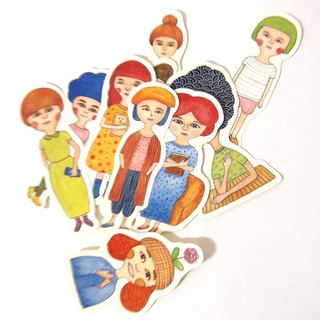 Marshmallow girl stickers set 10 into
