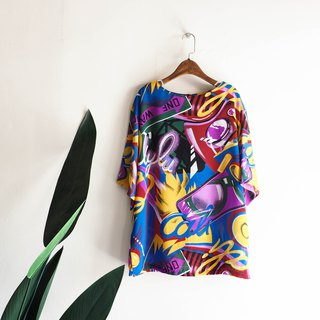 River Water Mountain - Tokyo Color Rock Love Season Antique Silk Spinning Shirt Top Shirt