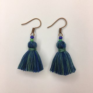 Non-political blue and green color classic tassel earring ear hook ear clip