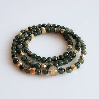 Gemstones,natural ore, green hair, titanium crystal, brass, bracelet