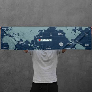 Make World Map Manufacture of Sports Towels (Navy)
