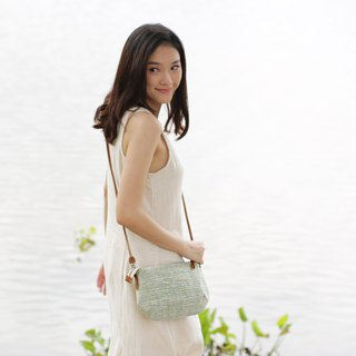 Cross-body Bags mini Curve Hand woven and Botanical Dyed Cotton Green Color