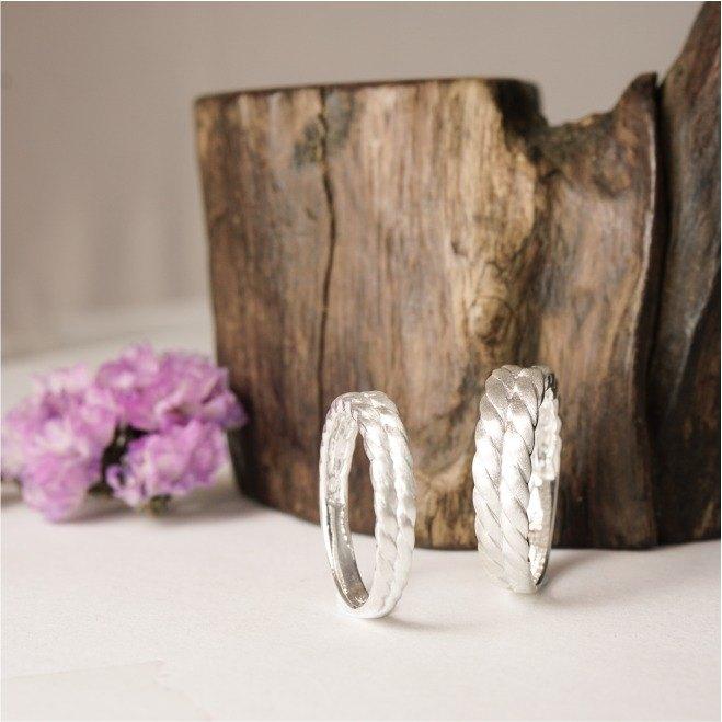 繾綣 - 砂面處理純銀戒指  男女對戒