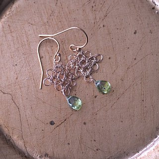Peridot wire crochet earrings