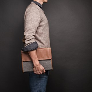 ad:acta Assistent upcycling binder bag - unique laptop case without handle - German handmade, Italian Nappa leather (brown)