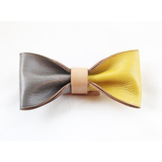 Clip on vegetable tanned leather bow tie - Gray / Yellow color