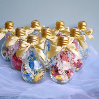 Graduation Ceremony - Gypsophila Hydrangea Glass Bulb Dry Flower Blue Gold / Red Gold Single Sold