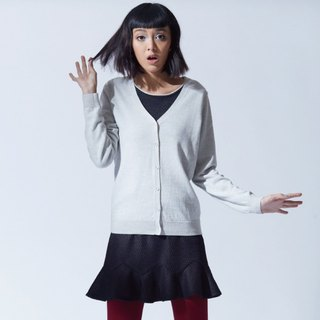 Wool function V collar wild knitted jacket - leisurely rice