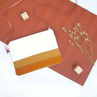 Hand made light summer paper bag - caramel milk white brown