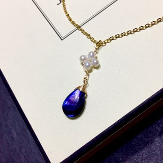 [Deep Sea II] Deep blue water drops & natural pearls. Plated 18k gold necklace.