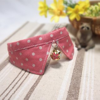 Pink dot dog cat collar scarf decorative collar