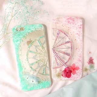 Pressed Flower Ferris Wheels Matching Phone Case | Tiffany Blue