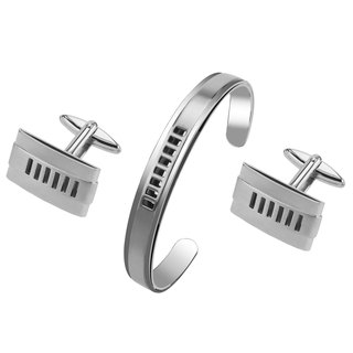 Stainless Steel Cut Out Stripes Cufflinks and Bracelet Set