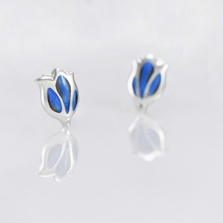 [Wonderland] tulip 925 silver earrings - blue feathers