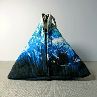 Watercolor Canvas Triangle Zero Wallet - Gradient Blue
