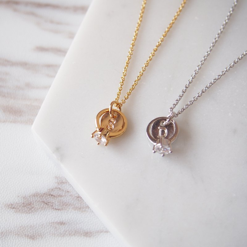 Gold and Silver 2 Piece Set ・I am willing to · Mini Ring Customized English Letters & Necklace Necklaces