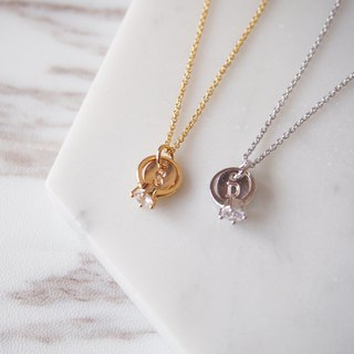 Gold and Silver 2 Sets, Sisters Etiquette, I Will, Mini Rings, Customized English Letters, Necklace Necklace Personalized Alphabet Neckla