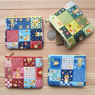 [旺财柴犬] hand made zipper wallet card package storage bag Dharma Fuji rice ball color