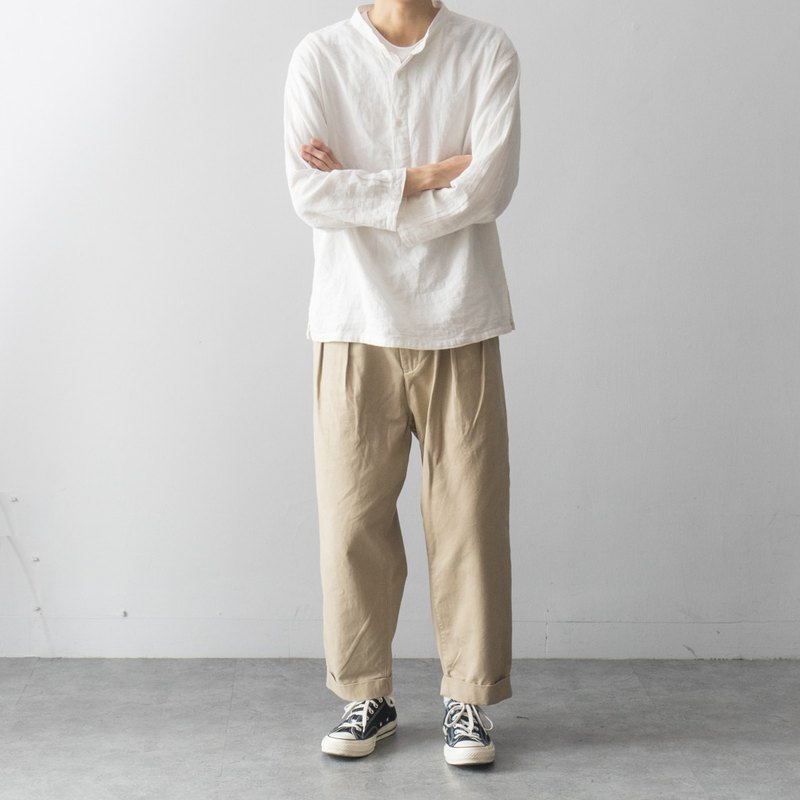 Japanese with double pleated 裥 9 pants loose French overalls men Work Pants