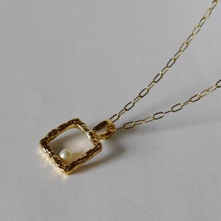 Square necklace (K18 GP)