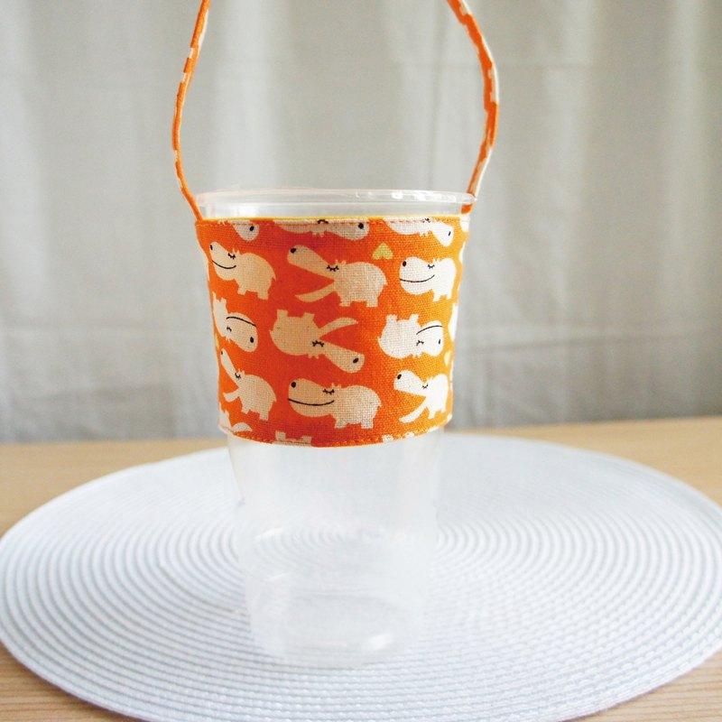 Lovely微笑河馬大冷飲料杯袋、提袋、環保杯套、飲料杯套【橘】