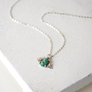 Handmade Emerald Angel wings Pendant with Sterling Silver Necklace