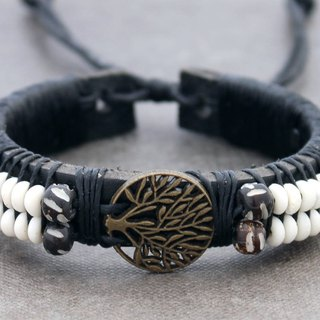 Leather Beaded Bracelets Men Unisex Charm Brass Tree Of Life Symbol Adjsutable