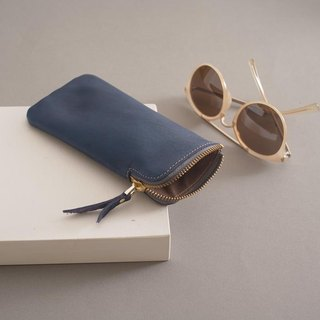 """RENÉE"" L zipper eyeglass bag / eyeglass bag / pencil bag plant tanning carved leather / plant tannage / vegetable tannery ocean blue"