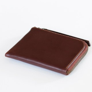 Red-brown leather L-shaped inner zip purse