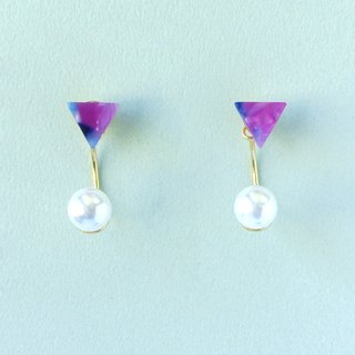Chimney Maru labi Impressionist Triangle Galaxy Color Pearl / Mosaic Front and Back Two Wear 2 way Earrings / Ear Clip (EP003)