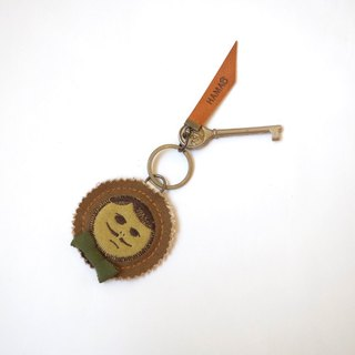 japan vintage key holder  -   camel canvas × green ribon