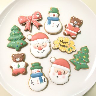 Fun Christmas Gift Box Sugar Cookies 10 Piece Set